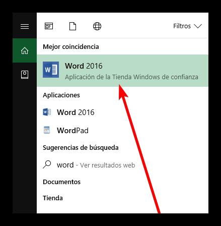 Abrir aplicación de Tienda de Windows Word 2016