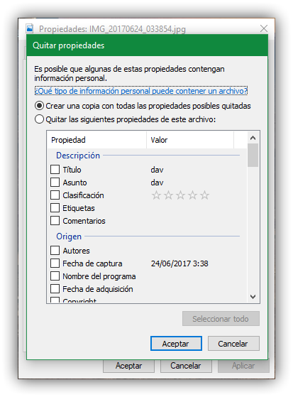 Borrar metadatos exif windows 10