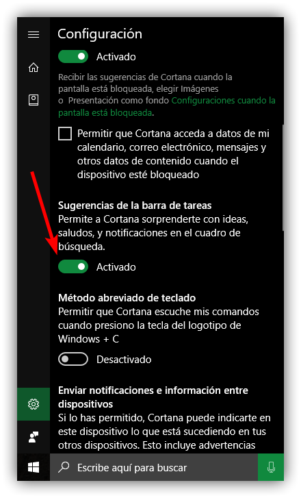 Desactivar sugerencias Cortana Windows 10