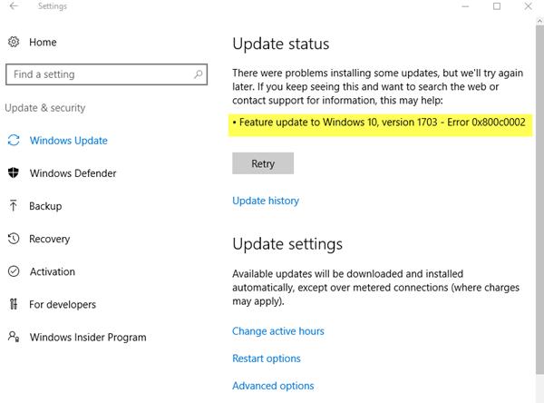 Cómo solucionar el error 0x800c0002 al instalar actualizaciones en Windows Update