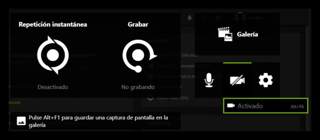 Grabar vídeo Nvidia GeForce Experience