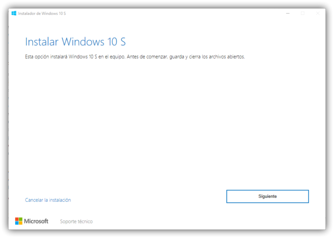 Instalar Windows 10 S