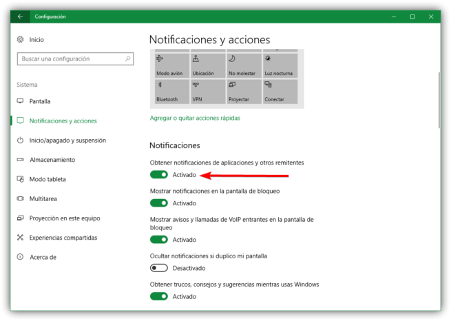 Notificaciones configuración Windows 10