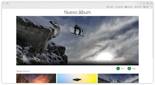 Nuevo Álbum de fotos creado en Windows 10