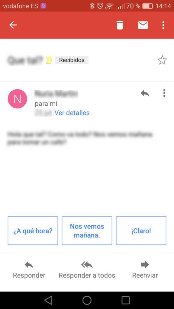 respuestas inteligentes de Gmail