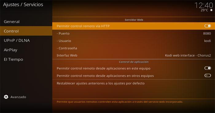 Kodi control remoto