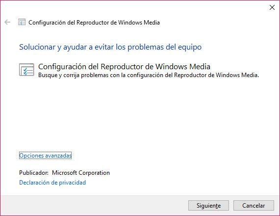solucionador problemas Reproductor de WIndows Media