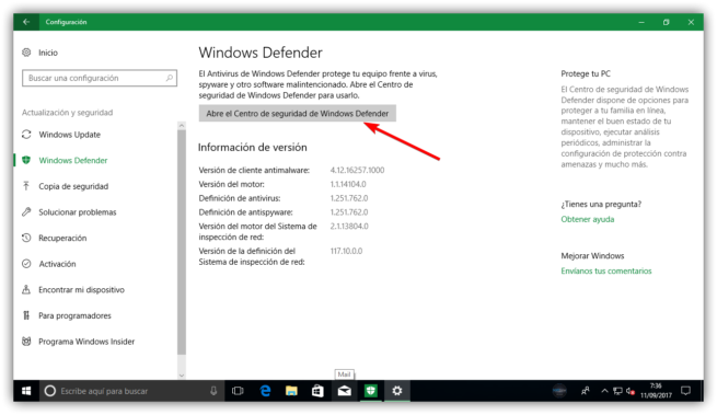 Abrir centro de seguridad Windows 10 Fall Creators Update