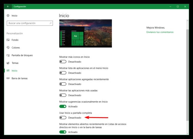 Activar menú inicio pantalla completa Windows 10