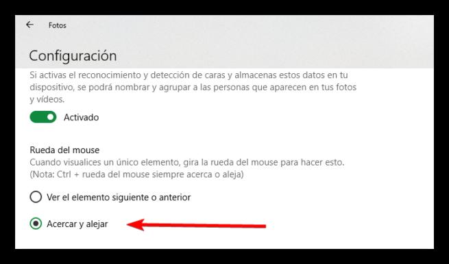 Cambiar opción rueda ratón App Fotos Windows 10