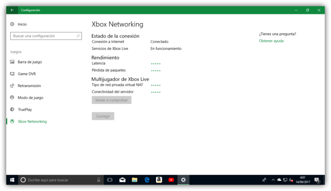 Comprobando conectividad Xbox Networking Windows 10 Fall Creators Update