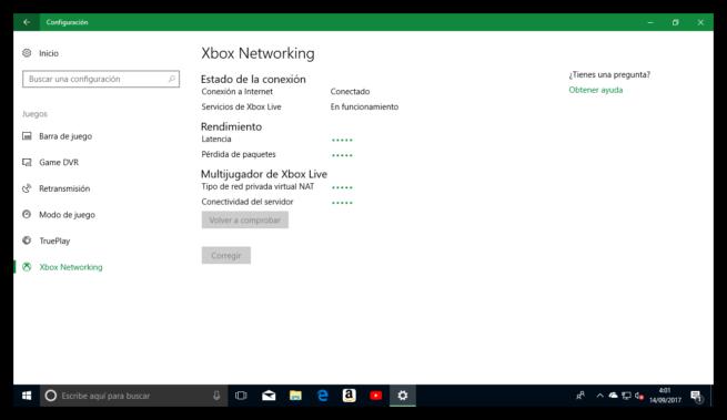 Comprobando conectividad Xbox Networking Windows 10 Fall Creators Update