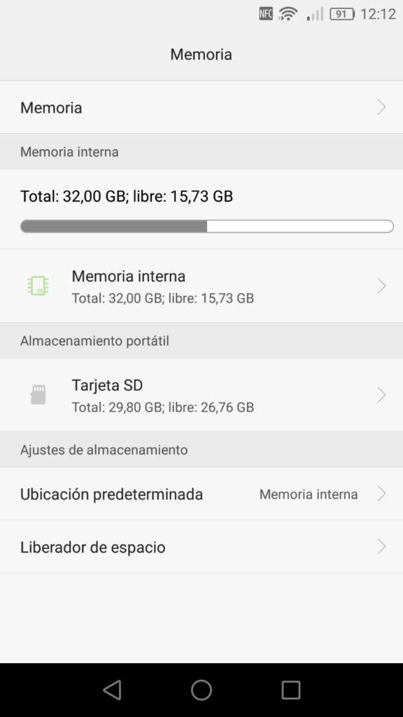 Espacio almacenamiento Android