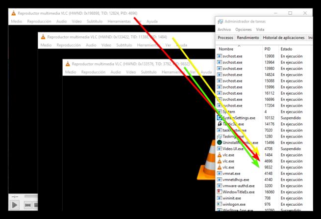 ID proceso ventana VLC WindowTitleEx