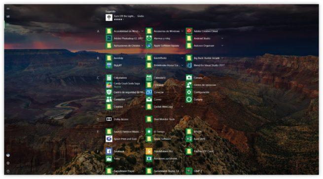 Menú Inicio pantalla completa Windows 10