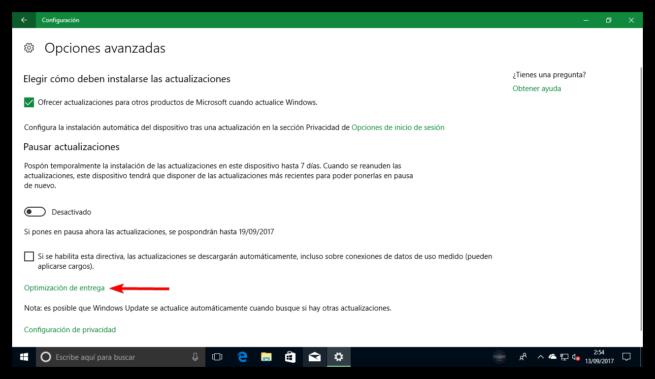Opciones avanzadas Windows Update Windows 10 Fall Creators Update
