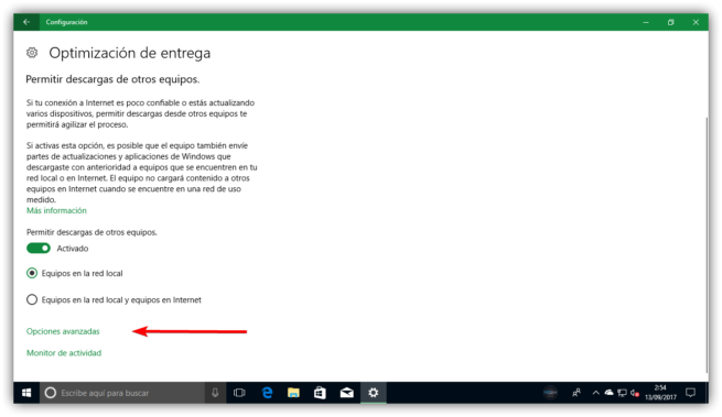 Optimización de entrega de Windows Update en Windows 10 Fall Creators Update