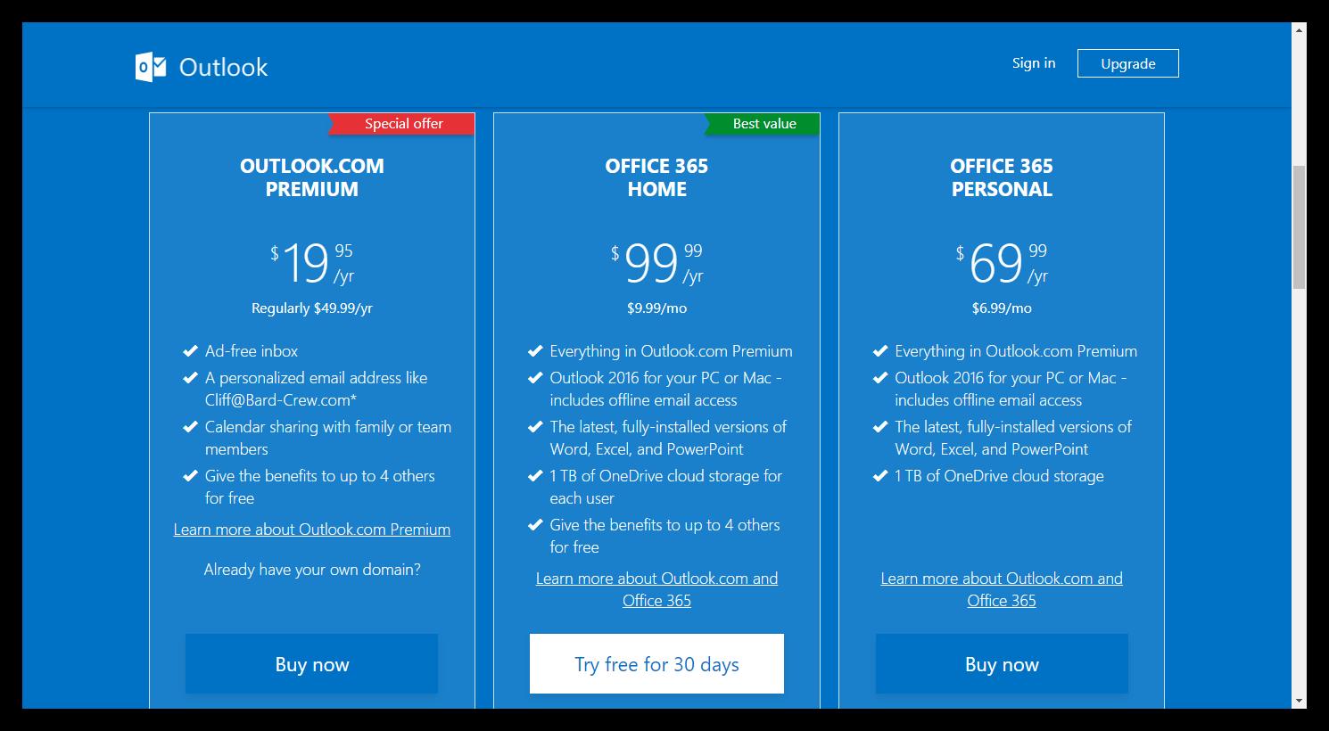Outlook Premium