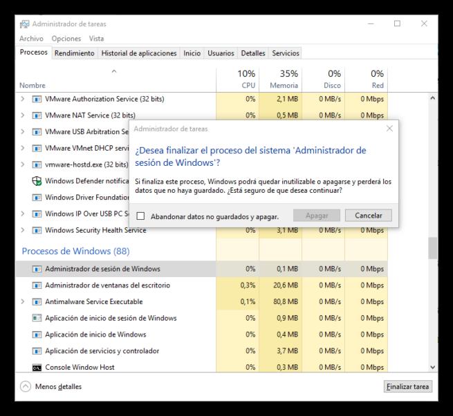 Procesos críticos de Windows - Administración de sesión