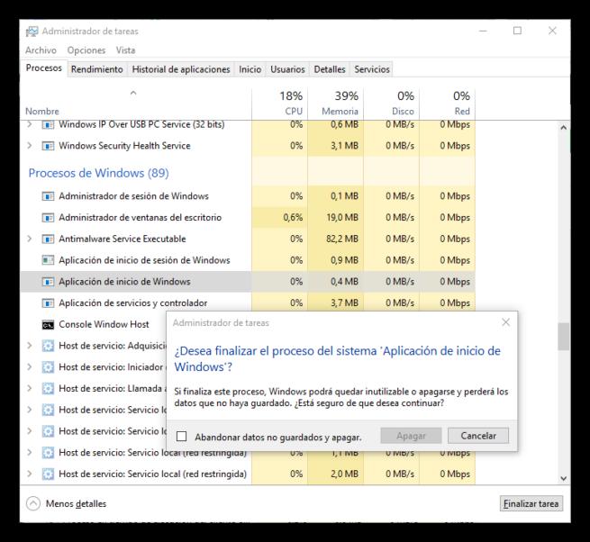 Procesos críticos de Windows - Aplicación de inicio de Windows