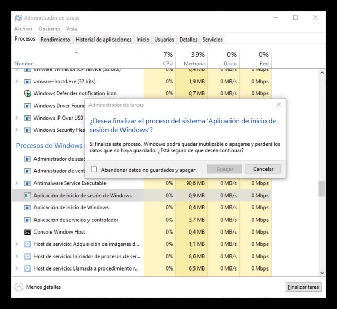 Procesos críticos de Windows - Inicio de sesión