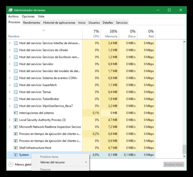 Procesos críticos de Windows - System