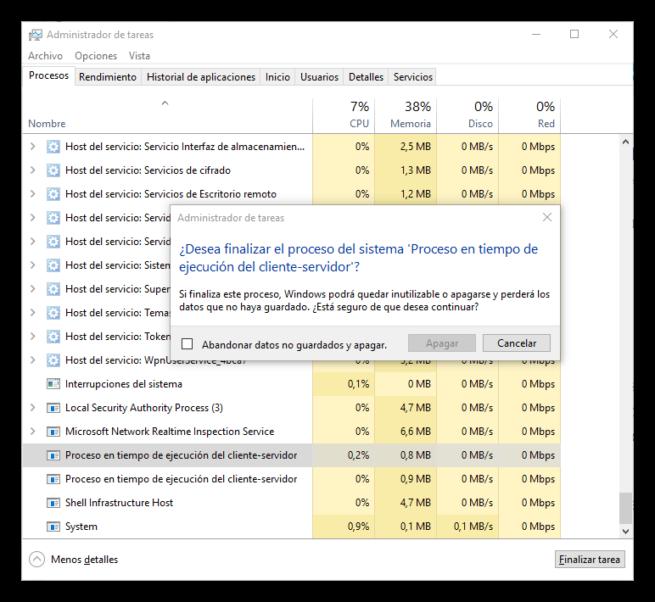 Procesos críticos de Windows - proceso en tiempo de ejecución