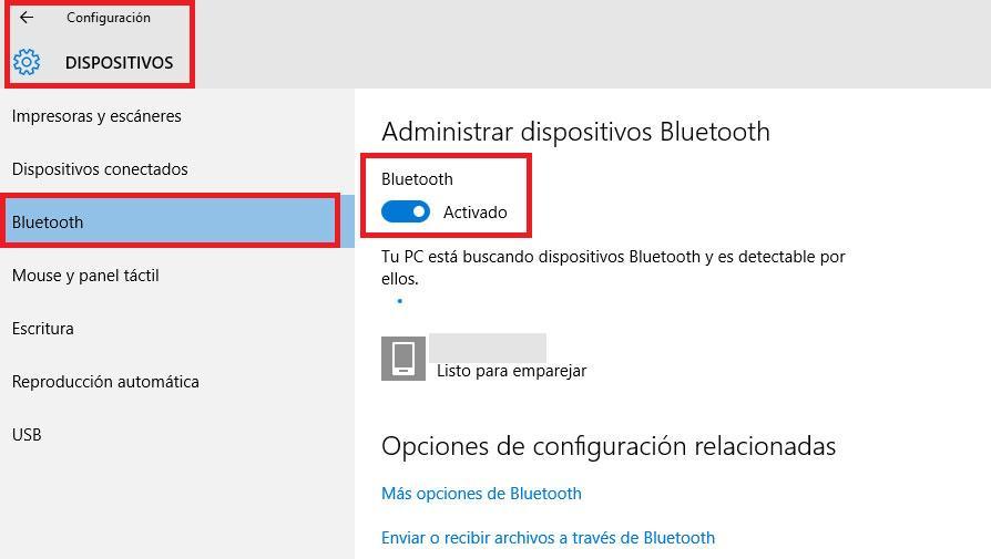 Bluetooth activar windows 10