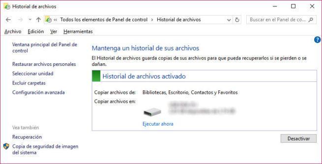 Historial de archivos