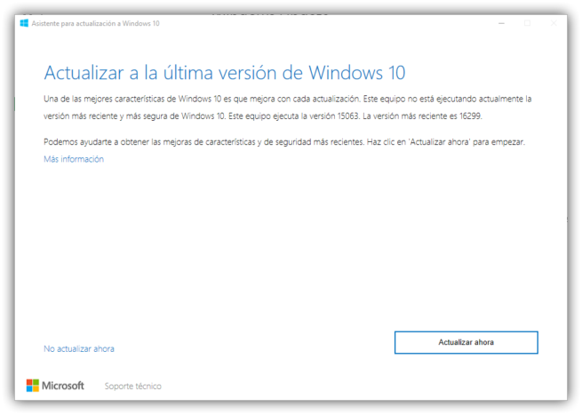 Asistente para actualizar a Windows 10 Fall Creators Update