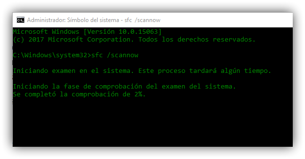 Comprobar integridad actualizar Windows