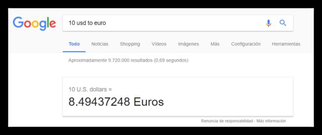 Conversor divisas Google