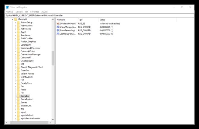 Editor de registro - GameBar - Windows 10 Fall Creators Update