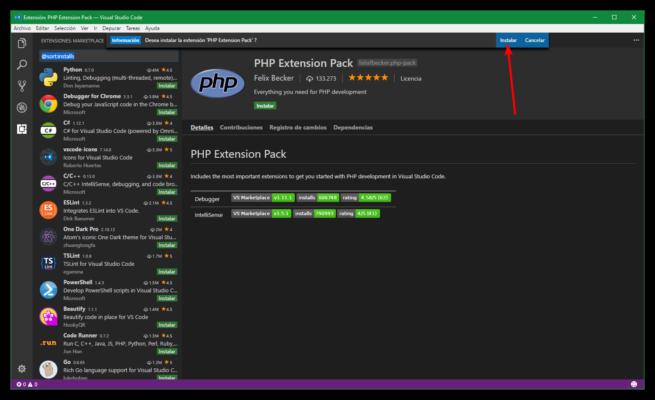 Instalar extensión Microsoft Visual Studio Code desde web