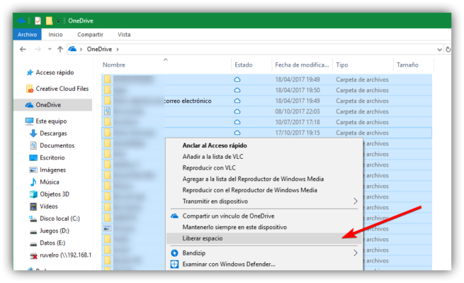 Liberar espacio OneDrive Windows 10