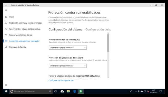 Módulos protección vulnerabilidades Windows 10 Fall Creators Update