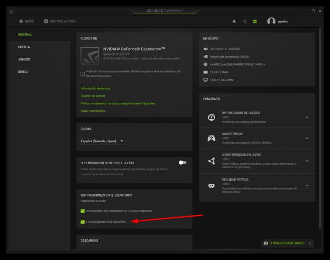 Nvidia GeForce Experience - Desactivar publicidad