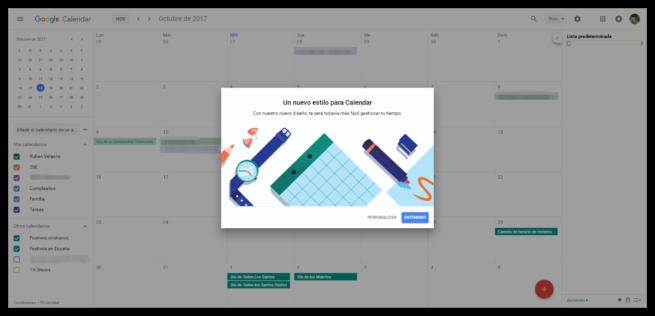 Personalizar nuevo diseño Google Calendar