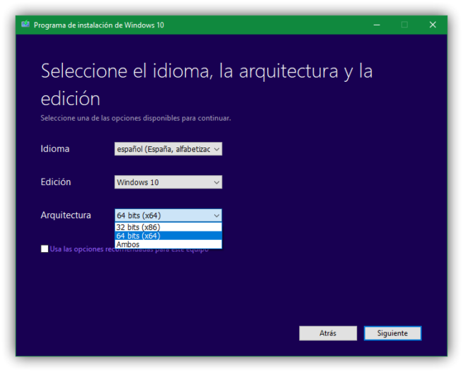Seleccionar arquitectura ISO Windows 10 Fall Creators Update