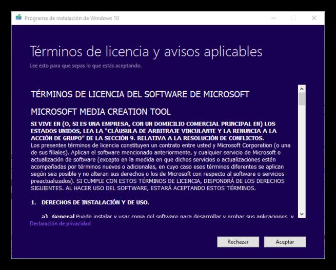 Términos de creación de medio de instalación de Windows 10 Fall Creators Update
