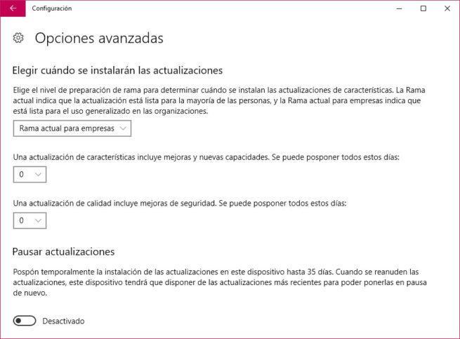 retrasar la actualización a Windows 10 Fall Creators Update