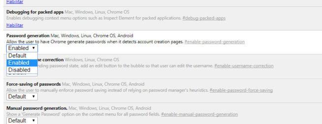 autogenerador de contraseñas en Google Chrome