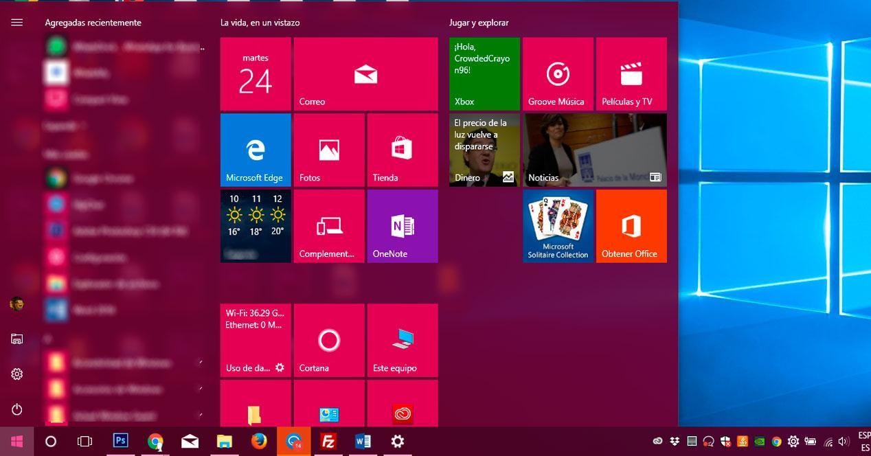 menú Inicio en Windows 10 Fall Creators Update