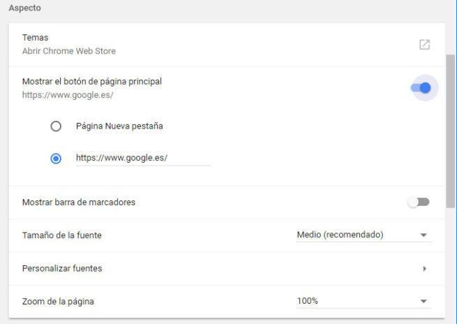 pagina de inicio de Google Chrome