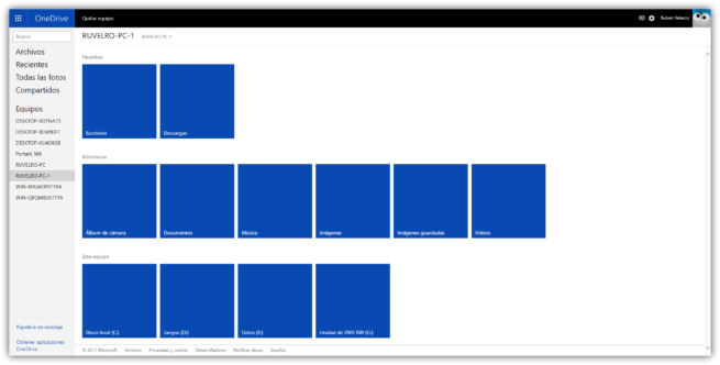 Acceso archivos remoto OneDrive