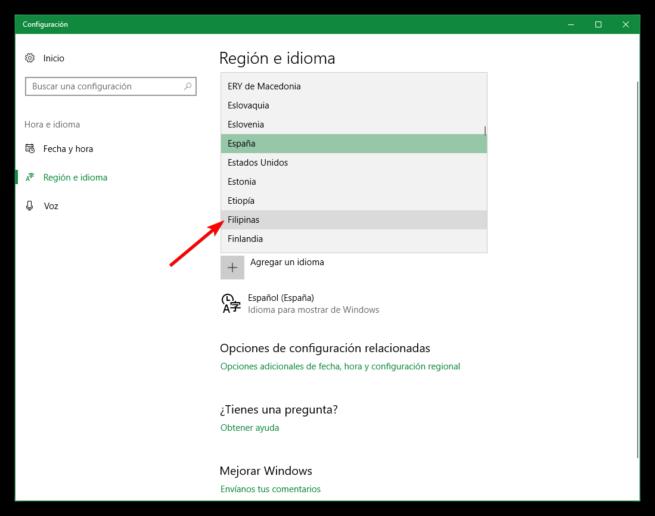 Cambiar región Windows 10