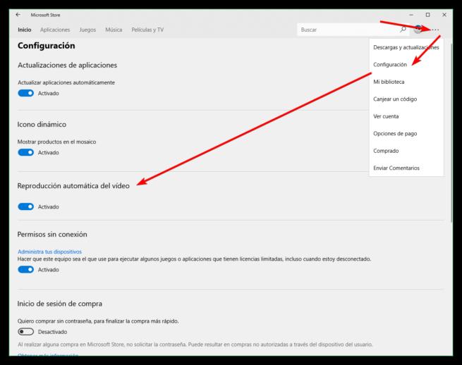 Desactivar reproducción vídeos Microsoft Store