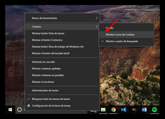 Mostrar solo icono Cortana Windows 10
