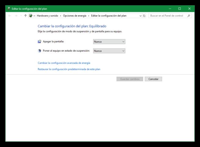 Opciones avanzadas de energía en Windows