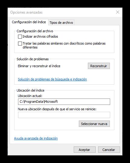 Opciones avanzadas de indización Windows 10